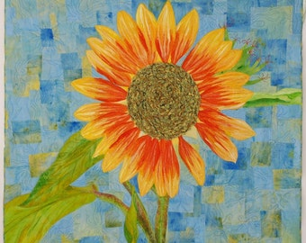 """Contemporary Applique Art Quilt - Wall Hanging - Fiber Art-Textile Art - """"Sunflower with a Passion for Color"""" - Hand Dyed and Painted Fabric"""