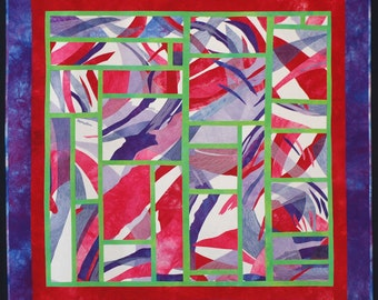 """Abstract Geometric Art Quilt - Wall Hanging - Alzheimer's Quilt - Original Design - """"Shattered Curves"""" - Hand Dyed Fabric - Contemporary Art"""