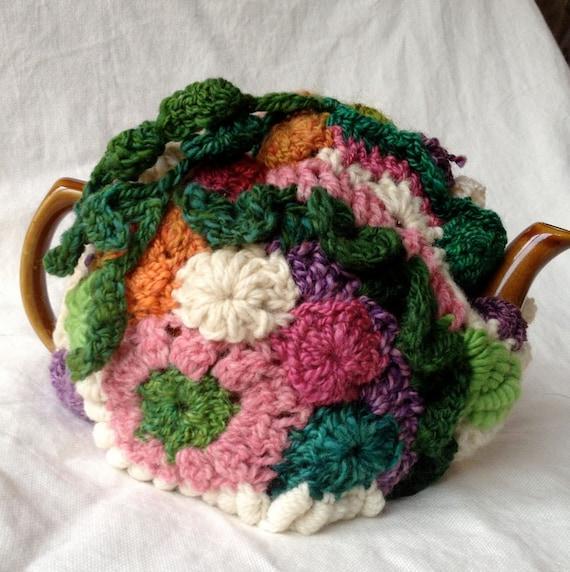 "Freeform Crochet tea cozy, ""Vine"", fits a 4-6 cup pot"