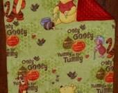 30x36 Winnie the Pooh Ribbon Tab Sensory Blanket with Minky Red Dot Backing