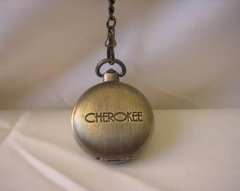 Vintage Cherokee Quartz Pocket Watch Chain Antique Brass Vintage Jewelry Vintage Watch Retro Watches 90's Jewelry Priscilla's Pink Closet