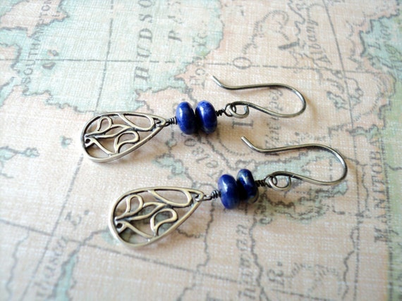 Crepuscule (Dusk) - Oxidized Sterling Silver and Lapis Lazuli Earrings