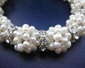 wedding bracelet, beadwork bracelet,beaded bracelet,wedding jewelry,bridal pearl bracelet,freshwater pearls, pearl bracelet,seed bead pearls