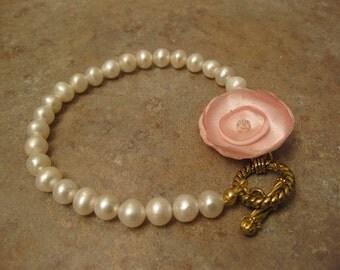 wedding pearl bracelet, pearl jewelry, bridal pearls, flower girl bracelet, communion , childrens pearls, pearls for kids, floral bracelet