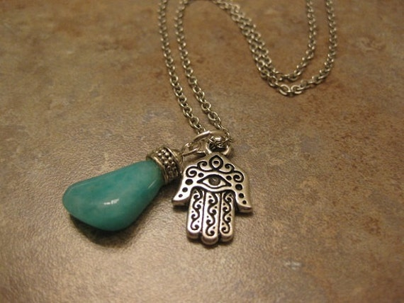 hamsa, hamsa necklace, amazonite necklace, hamsa jewelry, amazonite jewelry, hamsa pendant , green stone necklace , hamsa hand necklace,