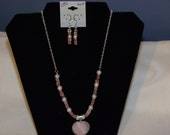 Pink quartz heart and cherry volocano beaded necklace with FREE earrings to match