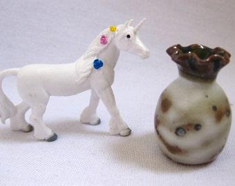 Unicorn magic & magnificent miniature porcelain vase