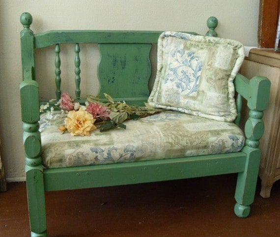Shabby Chic Upholstered Seat Bench