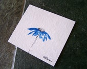 Cone Flower in Cobalt Blue (II), Scrap Paper Painting, Original Watercolor