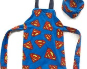 Eco friendly Superman Apron With Chefs Hat.  Boys, Fully Lined. Will Fit Most 2-4 Year Olds.