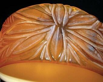 HUGE SALE rare apple juice cream carved vintage bakelite bangle bracelet