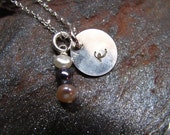 Initial Charm Sterling Silver Necklace with Mixed Pearls