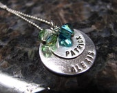 Sterling Silver Hand Stamped Double Birthstone Necklace with Small Uppercase