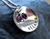 Hand Stamped Domed Sterling Silver Personalized Necklace with Swarovski Crystal