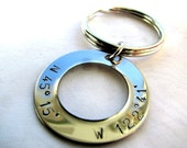 Personalized Hand Stamped Latitude and Longitude Keychain - Personalized Gift - Personalized Keychain