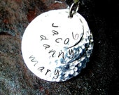 Triple Disc Hammered Sterling SIlver Necklace