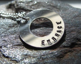 Personalized EMBRACE sterling silver washer necklace