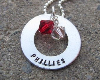 Hand Stamped Sterling Silver Phillies Necklace