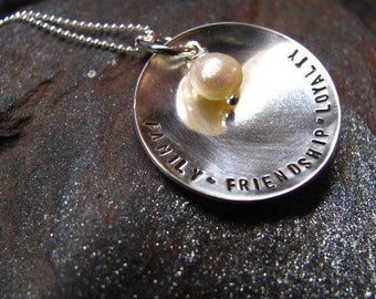 FAMILY FRIENDSHIP LOYALTY Sterling Silver Personalized Necklace