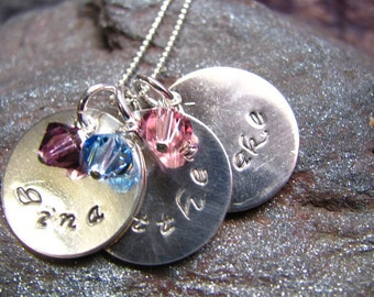 Triple Overlaping Sterling Silver Hand Stamped Personalized Necklace - Mommy Jewelry - Personalized Jewelry