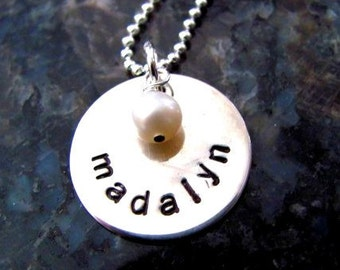 Sterling Silver Hand Stamped Personalized Necklace - Mommy Jewelry- Personalized Jewelry