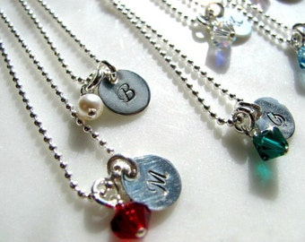 Set of 6 Personalized Hand Stamped Sterling Silver Bridesmaids Necklaces