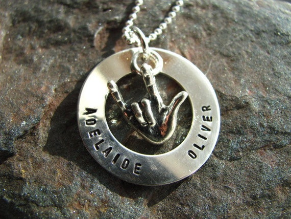 """A """"I Love You"""" Sign Language Hand with a Personalized Sterling Silver Hand Stamped Necklace"""