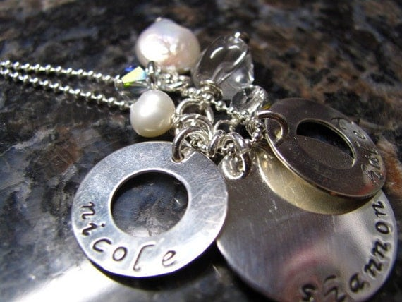 Personalized Hand Stamped Sterling Silver Necklace with mixed Pearls and Crystals