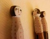 Sinister handpainted wooden peg doll