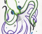 "Purple and Green Squid Print - ""Squid Dance"""