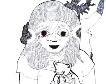 Nicole (and a Kitten), Portraiture Print - Illustration Fine Art