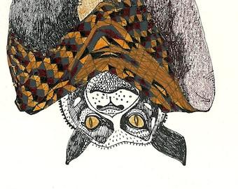 Megabat, Bat Print in Brown - Illustration Fine Art
