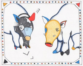 Warthog Lovers Print in Red, Yellow, and Blue