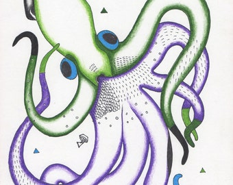 "Purple and Green Squid Print - ""Squid Dance"""
