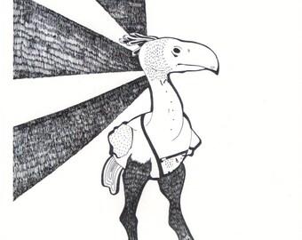 Terror Bird, Art Print - Prehistoric Bird in Black and White - Illustration Art