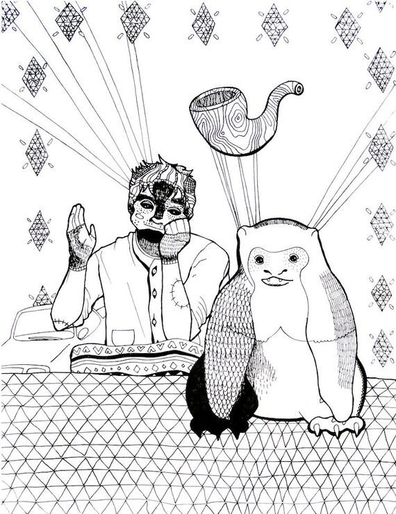 "Bizarre Creature Art Print - ""Brandorf"" in Black and White - Illustration Art"