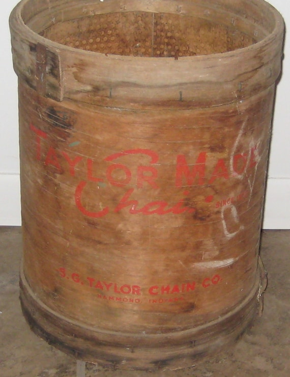 Vintage Wood Container - Round/Cylindrical - Very Rustic/Industrial - Unique