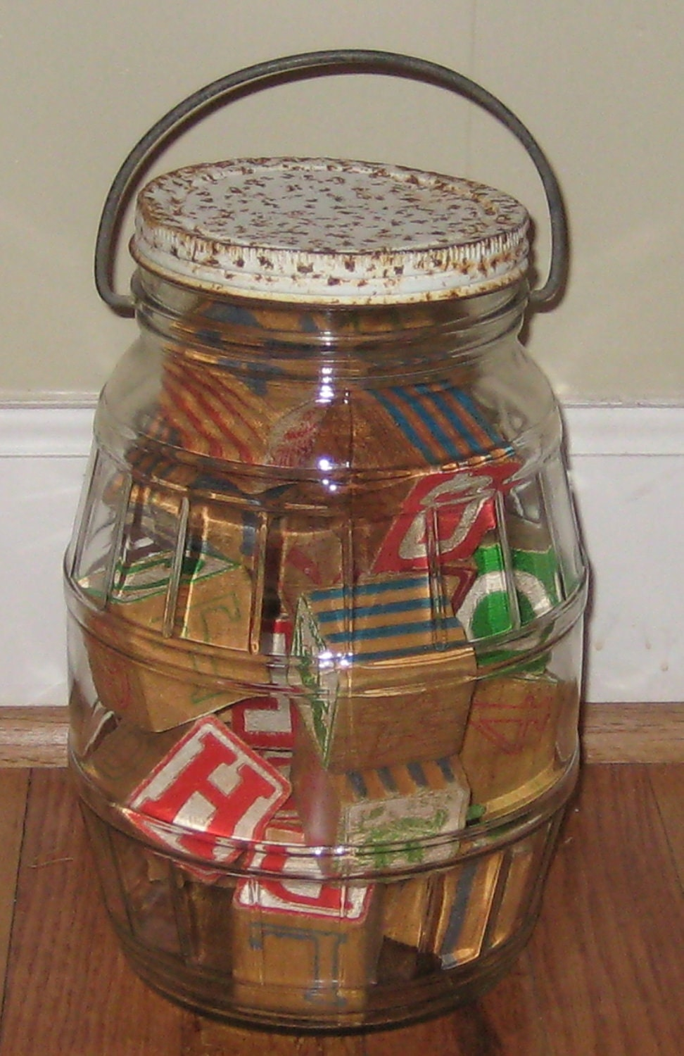 Vintage Glass Pickle Barrel Jar With Lid And Handle Great