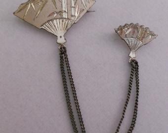 Damascene Sterling Silver Japanese Double Fan Pin