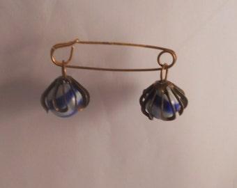 Hard to Find Vintage Glass Globe Marbles Safety Skirt Kilt Pin