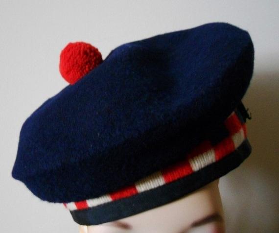 Vintage Wool Curling Tam Made In Scotland