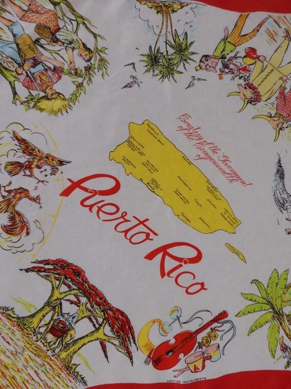 Vintage PUERTO RICO Souvenir Silk Scarf