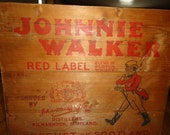Quite Large Antique/Vintage Johnnie Walker Red Shipping Crate--Orig. Sent to Canada Dry, NY, NY
