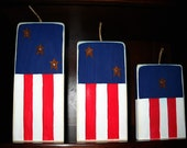 Set of Red, White and Blue Wooden Firecrackers
