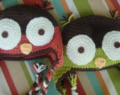 Crochet Owl Earflap Hats, Child - brown, green, coral