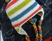 Crochet Baby Girl Earflap Hat with Pom Pom - Ivory, Coral, Dusty Blue, Bright Green