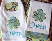 Personalized Octopus Bib & Burp Cloth Set - Customized for a Girl or Boy
