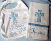 Personalized DATED Cross Bib & Burp Cloth Set - Custom for Girl or Boy