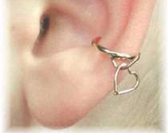 Ear Cuff - Dangle Heart - 14K Gold Filled or Sterling Silver - SINGLE SIDE