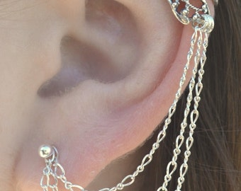 Ear Cuff with Chain - Butterfly Wing with Triple Chain to Post - Sterling Silver - Single Side or Pair